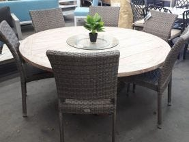 FLOOR MODEL- Aro  Table with Lucerne Chairs  7pc Outdoor Dining Setting