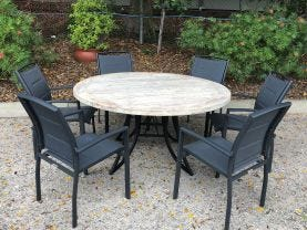 FLOOR MODEL -Aro Table with Verde Chairs 7pc Outdoor Dining Setting