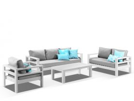 Aspen 4pc Lounge Setting - White / Cast Slate