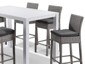 Adele Bar Table with Maldives Bar Stools - 7pc Outdoor Bar Setting