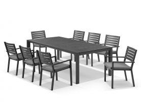 Bergen ceramic extension table with Mayfair Chairs 9pc Outdoor Dining Setting