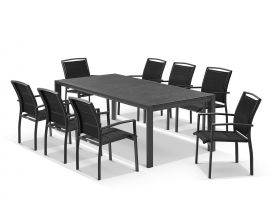 Bergen ceramic extension table with Verde Chairs 9pc Outdoor Dining Setting