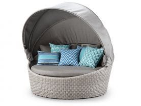 Cebu Outdoor Daybed -Elk Wicker with Sunbrella Carbon Beige Fabric