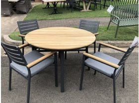 FLOOR MODEL - Concorde Round Table with Astra Chairs 5pc Outdoor Dining Setting