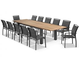 Corfu Extension Table with Verde Chairs 13pc Outdoor Dining Setting