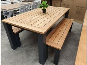 FLOOR MODEL- Corfu 180 Table with Benches 3pc Outdoor Setting