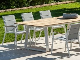 Elko Table with Sevilla Teak Arm Chairs 9pc Outdoor Dining Setting