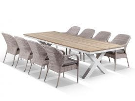 180 fox outdoor teak dining table with aluminium chairs