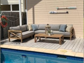 Hampton 6 Seater  Teak Outdoor Modular Lounge Setting