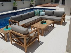 Hampton 7 Seater  Teak Outdoor Modular Lounge Setting