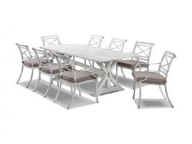 The Vogue with Picasso Whitewash Outdoor  Setting -9pc