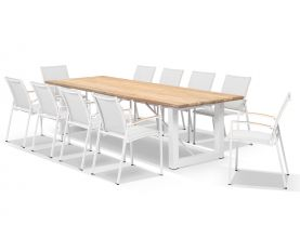 Laguna 290 Table with Pacific Arm Chairs -11pc Outdoor Dining Setting