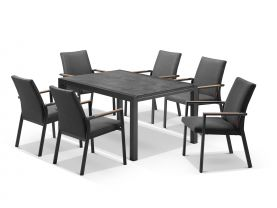 Laredo Extension Table with Lazaro Chairs 9pc Outdoor Dining Setting