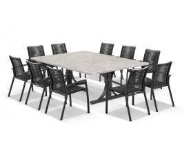 Luna 210cm Table with Sevilla Chairs 11pc Outdoor Dining Setting