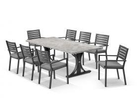 Luna 220cm Table with Mayfair Chairs 9pc Outdoor Dining Setting
