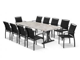 Luna 250cm Table with Verde Chairs 11pc Outdoor Dining Setting