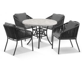 Luna 100cm Round Table with Java Chairs 5pc Outdoor Dining Setting