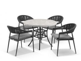 Luna 100cm Round Table with Nivala Chairs 5pc Outdoor Dining Setting