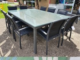 FLOOR MODEL- Mateus Table with Verde Chairs 11pc Outdoor Dining Setting