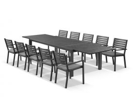 Bergen ceramic extension table with Mayfair Chairs 11pc Outdoor Dining Setting