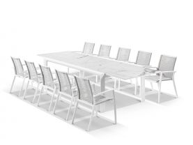 Mona Ceramic Extension Table with Sevilla  Rope Chairs 11pc Outdoor Dining Setting