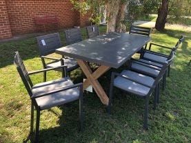 Osasco Table with Mayfair Chairs 9pc Outdoor Dining Setting
