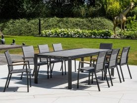 Mona Ceramic Extension Table with Sevilla Teak Arm Chairs -13pc Outdoor Dining Setting