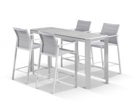 Tellaro Ceramic Bar Table with Meribel Bar Stools - 5pc Outdoor Bar Setting