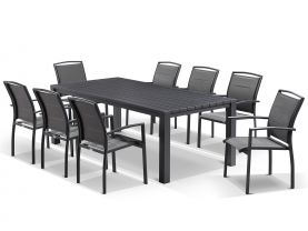 Adele table with Verde chairs  9pc Outdoor Dining Setting