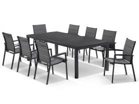 Hague Extension table with Latina Chairs  - 11pc Outdoor Dining Setting