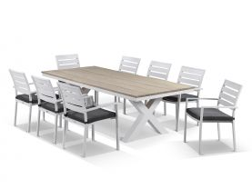 180 Fox teak outdoor table setting with verde chairs