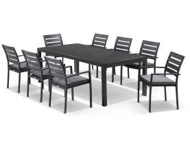 Hague Extension table with Twain  Chairs  - 11pc Outdoor Dining Setting