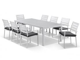Hague Extension table with Twain  Chairs  - 13pc Outdoor Dining Setting