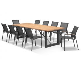 Laguna 290 Table with Pacific Chairs -11pc Outdoor Dining Setting