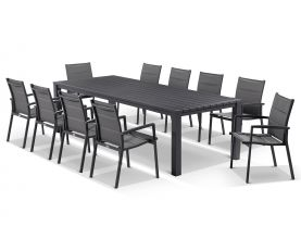 Adele table with Latina  Chairs 11pc Outdoor Dining Setting