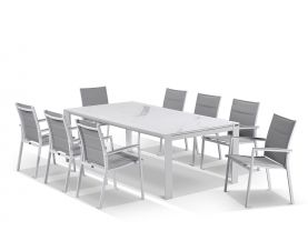 Mona Ceramic Extension Table with Latina Chairs -11pc Outdoor Setting