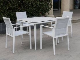 Leros Ceramic Table with Meribel Dining Chairs -5pc Outdoor Dining Setting
