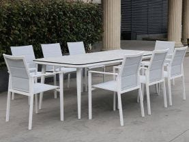 Leros Ceramic Table with Meribel Dining Chairs -9pc Outdoor Dining Setting