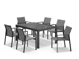 Laredo Extension Table with Meribel Chairs 7pc Outdoor Dining Setting