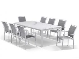Mona Ceramic Extension Table with Verde Chairs -11pc Outdoor Setting