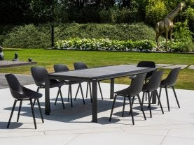 Mona Ceramic Extension Table with Galati Chairs -13pc Outdoor Dining Setting