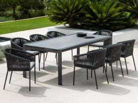 Mona Ceramic Extension Table with Gizella Chairs 9pc Outdoor Dining Setting