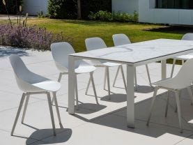 Mona Ceramic Table with Galati Chairs -9pc Outdoor Dining Setting