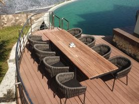 Marseille 280 Extension table with Palm Chairs - 9pc Outdoor Dining Setting