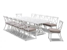 Vogue 280 x 110cm  table with Valencia Chairs  - 13pc Outdoor Setting