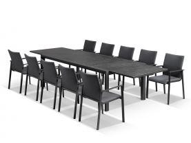 Bergen Ceramic Extension Table with Palmetto Dining Chairs -11pc Outdoor Dining Setting
