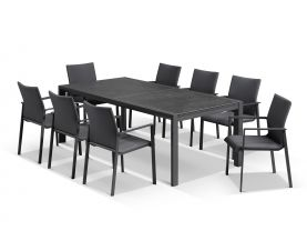 Bergen Ceramic Extension Table with Palmetto Dining Chairs -9pc Outdoor Dining Setting