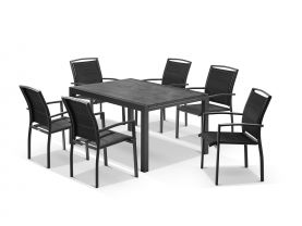 Laredo Extension Table with Verde Chairs 9pc Outdoor Dining Setting