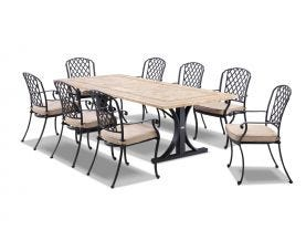 Verona  220 x 100 Table With Pizzaro Chairs -9pc Outdoor Dining Setting