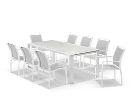 Tellaro Ceramic Extension Table With Verde Chairs -13pc Outdoor Dining Setting